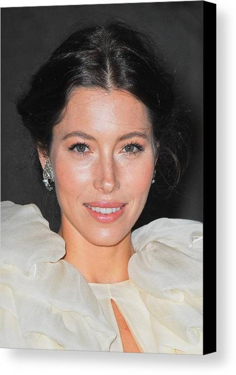 Jessica Biel Canvas Print featuring the photograph Jessica Biel Wearing Fred Leighton by Everett