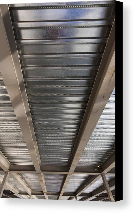 No People Canvas Print featuring the photograph Metal Decking Over Structural Steel by Don Mason