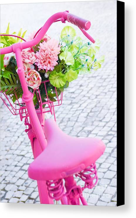 Angle Canvas Print featuring the photograph Pink Bicycle by Carlos Caetano