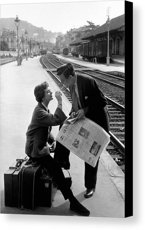 Young Adult Canvas Print featuring the photograph Platform Cigarette by Kurt Hutton
