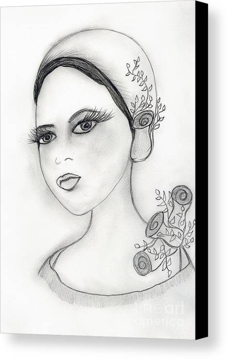 Flapper Canvas Print featuring the drawing Rose Flapper by Sonya Chalmers