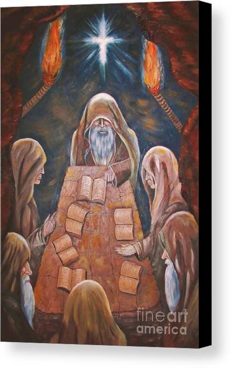 Sacred Tradition Canvas Print featuring the painting Sacred Tradition by Judy Via-Wolff