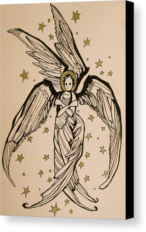 Seraphim Angel Canvas Print featuring the drawing Seraphim by Jackie Rock