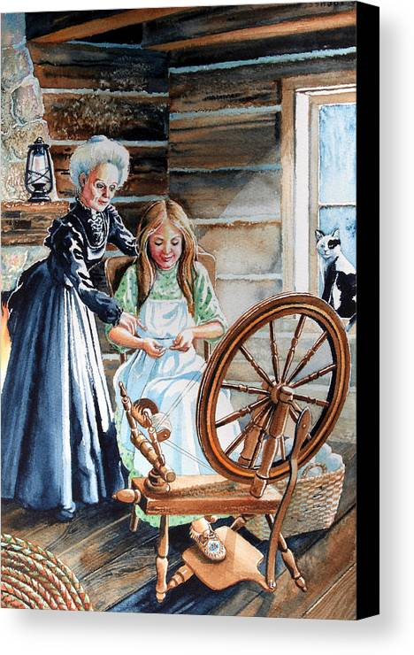Spinning Wheel Canvas Print featuring the painting Spinning Wheel Lessons by Hanne Lore Koehler