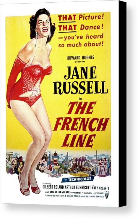1950s Movies Canvas Print featuring the photograph The French Line, Jane Russell, 1954 by Everett