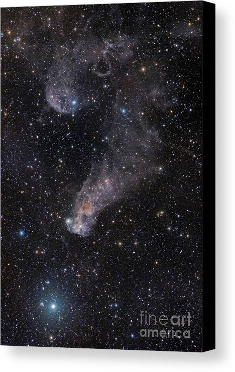 Astronomy Canvas Print featuring the photograph The Question Mark Nebula In Orion by John Davis