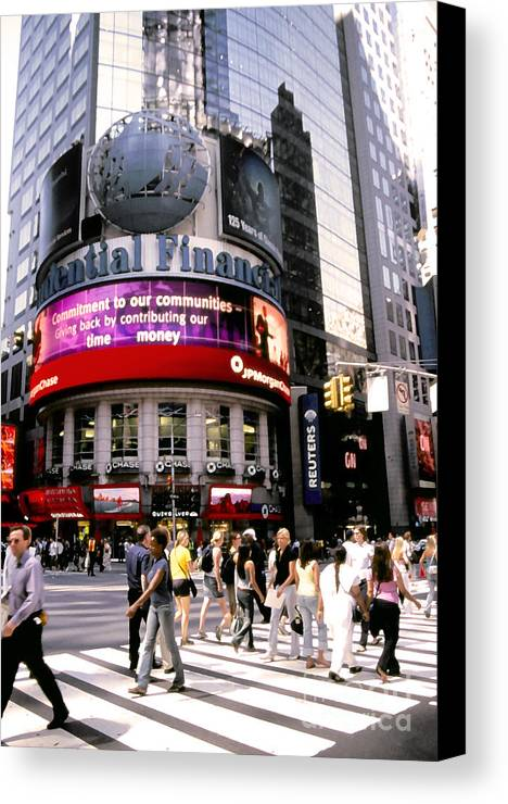 Nyc Canvas Print featuring the photograph Times Square Corner by Linda Parker