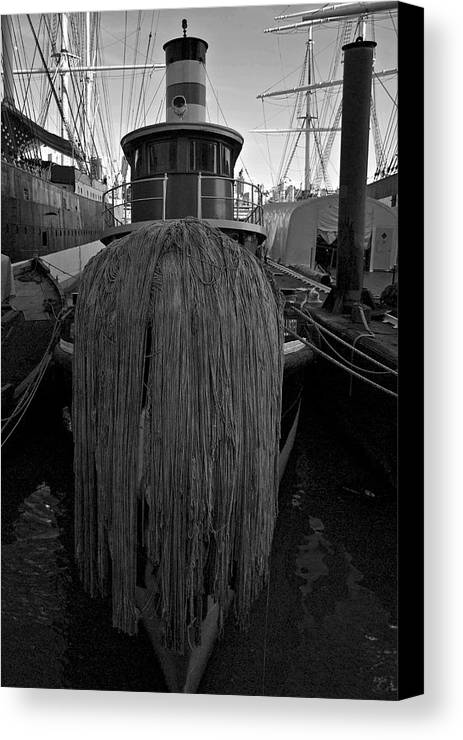 Old Canvas Print featuring the photograph Tugboat by Mike Horvath