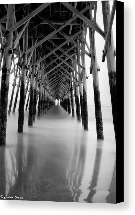 Canvas Print featuring the photograph Under Folly Pier by Calvin Smith