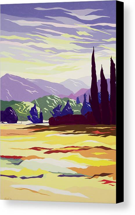 Tuscan Landscape; Tuscany; Italian; Cypress Tree; Apennines; Trees; Italy; Mountains Canvas Print featuring the painting Vicopelago - Lucca by Derek Crow