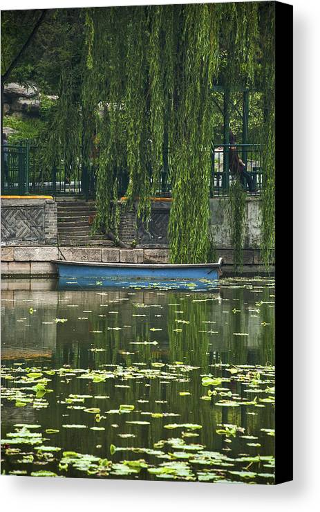 Asia Canvas Print featuring the photograph 0044-2- Row Boat by David Lange