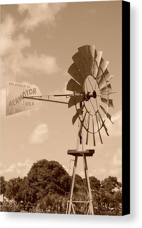 Sepia Canvas Print featuring the photograph Aermotor Windmill by Rob Hans