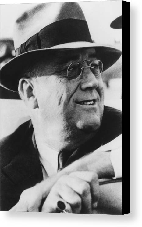 Franklin Roosevelt Canvas Print featuring the photograph President Franklin Roosevelt by War Is Hell Store