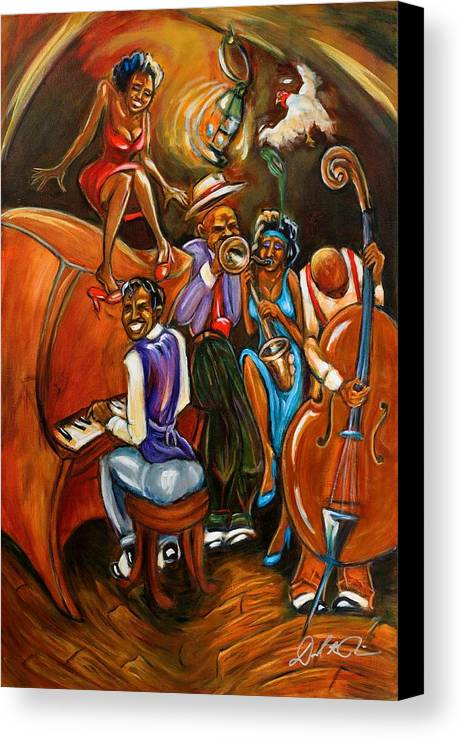 Jazz Art Canvas Print featuring the painting Speakeasy by Daryl Price