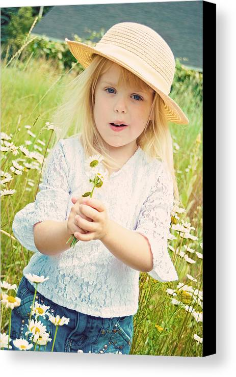 Girl Canvas Print featuring the pyrography Wildflower by Maria Dryfhout