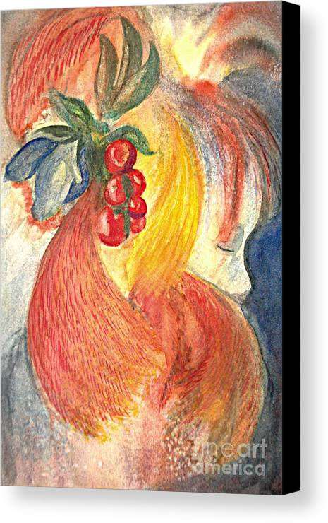 People Canvas Print featuring the painting Simply Red by Vivian Mosley