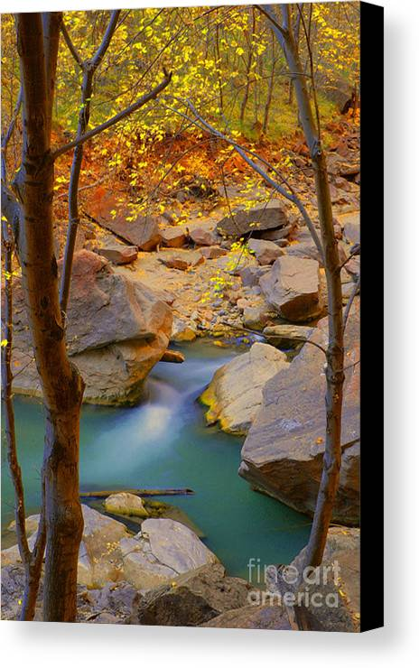 Utah Canvas Print featuring the photograph Virgin River In Autumn by Dennis Hammer