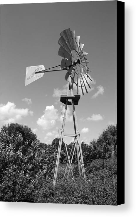 Black And White Canvas Print featuring the photograph Aermotor Windmill by Rob Hans