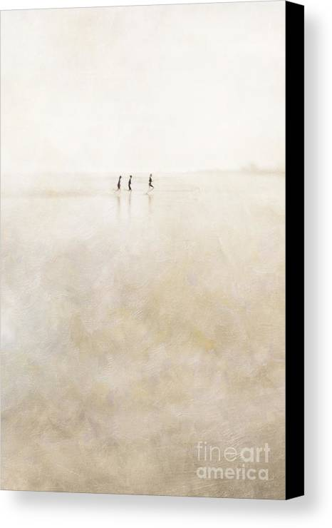 3 Canvas Print featuring the photograph 3 Girls Running by Paul Grand