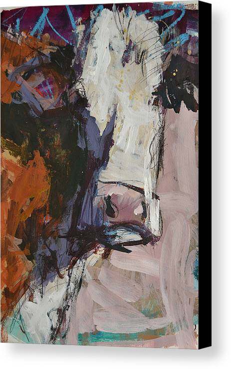 Art Canvas Print featuring the painting Modern Abstract Cow Painting by Robert Joyner