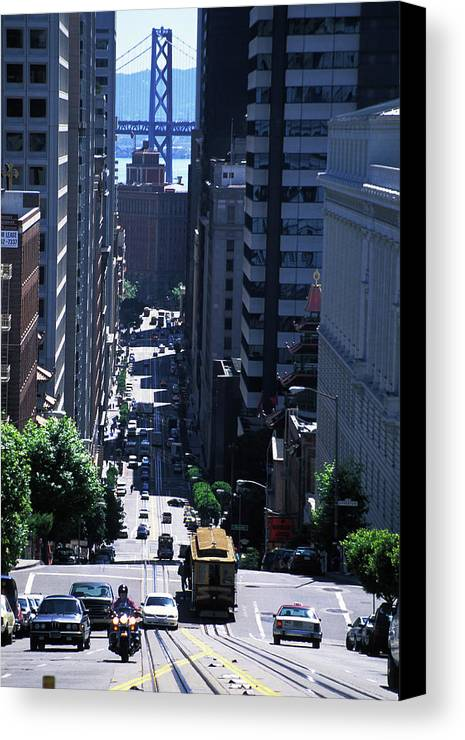 Cable Car Canvas Print featuring the photograph Cable Car In San Francisco by Carl Purcell