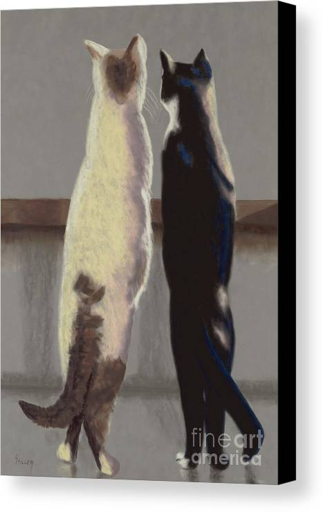 Cat Canvas Print featuring the painting A Bird by Linda Hiller