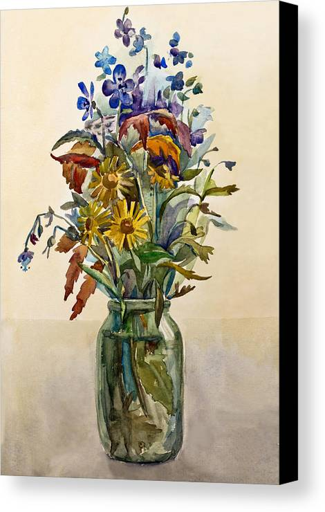 Bouquet Canvas Print featuring the painting A Bouquet Of Wild Flowers In A Glass Jar. by Olga Goncharenko