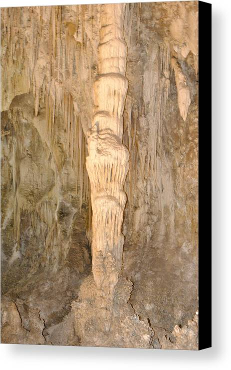 Cave Canvas Print featuring the photograph A Column by Jon Rossiter