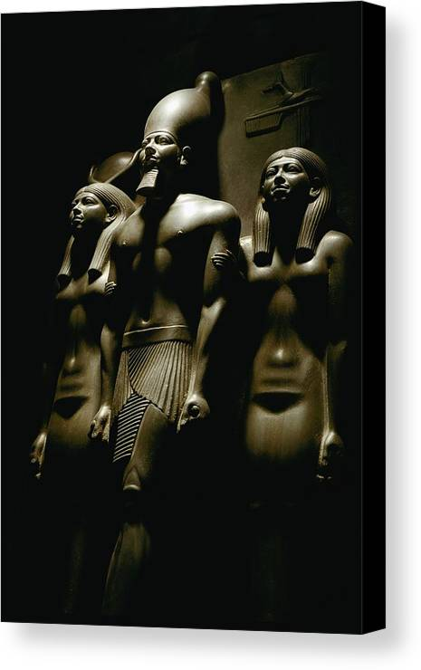 Dynasties Canvas Print featuring the photograph A Statue Of Pharoh Menkaura by Kenneth Garrett