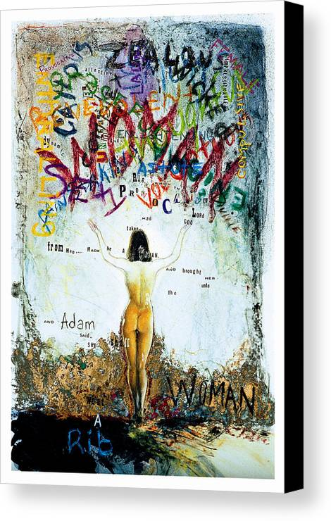 Nude Female Woman Oil Painting Adams Rib Canvas Print featuring the painting Adam's Rib by Sean OConnor