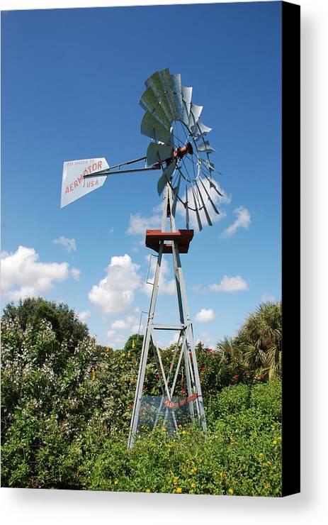 Blue Canvas Print featuring the photograph Aeromotor Windmill by Rob Hans
