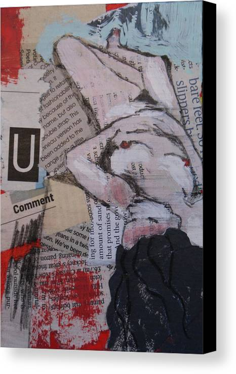 Nudes Canvas Print featuring the painting Alphabet Nude U by Joanne Claxton