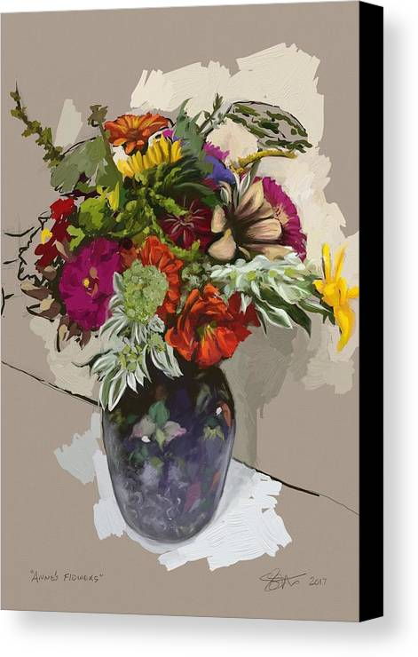 Flowers Canvas Print featuring the painting Anne's Flowers by Shelley Hanna
