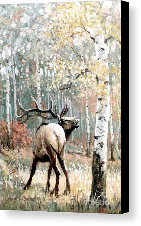 Elk Canvas Print featuring the painting Aspen Elk by JoAnne Corpany