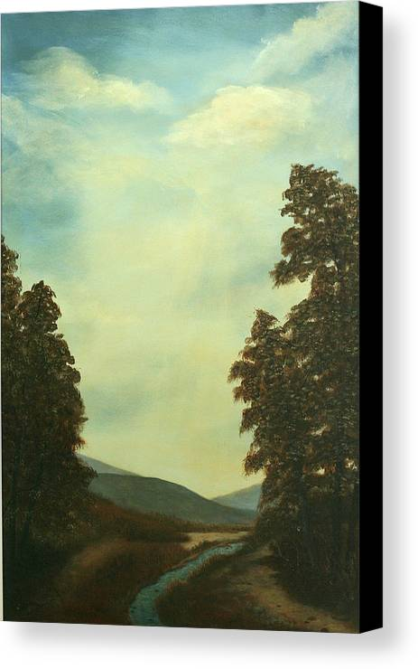 Original Pastoral Landscape Acrylic Large Constable Like Canvas Print featuring the painting Back In Time by Sharon Steinhaus