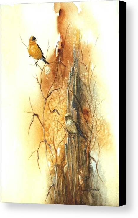 American Goldfinch Canvas Print featuring the painting Backyard American Goldfinch by Lynne Parker