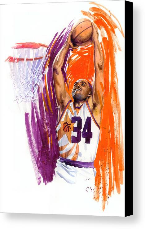 Charles Barkley Canvas Print featuring the painting Barkley by Ken Meyer jr