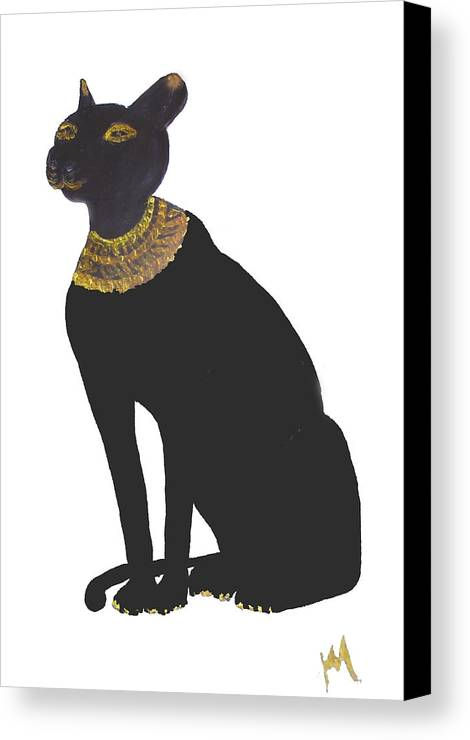 Egypt Canvas Print featuring the painting Bast Goddess Of Love by Michela Akers
