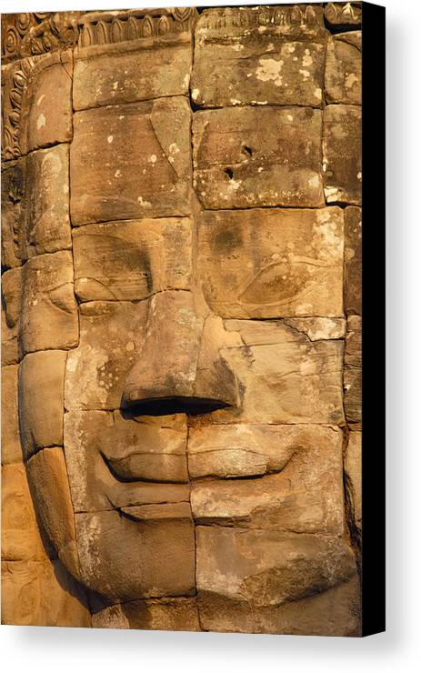 Cambodia Canvas Print featuring the photograph Bayon Temple by Liz Pinchen