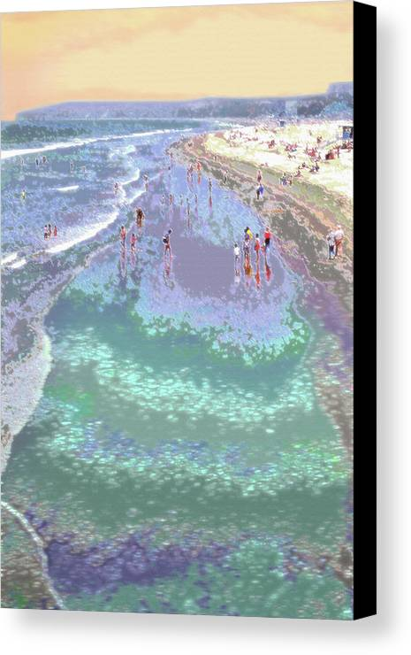 California Canvas Print featuring the photograph Beachgoers 2 by Steve Ohlsen