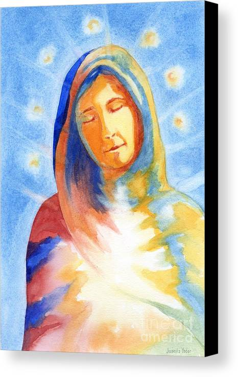 Divine Canvas Print featuring the mixed media Blessed Mother by Juanita Yoder