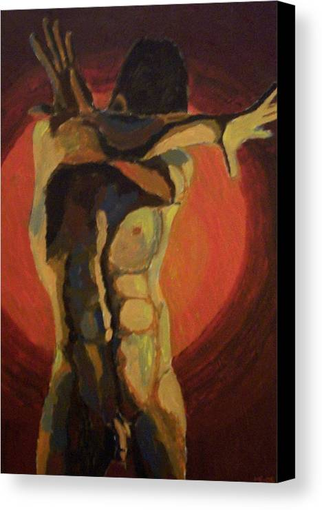 Nude Canvas Print featuring the painting Blinded by Mats Eriksson