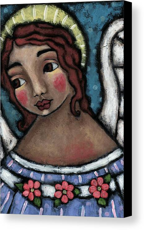 Angel Canvas Print featuring the painting Blue Angel With Golden Halo by Julie-ann Bowden