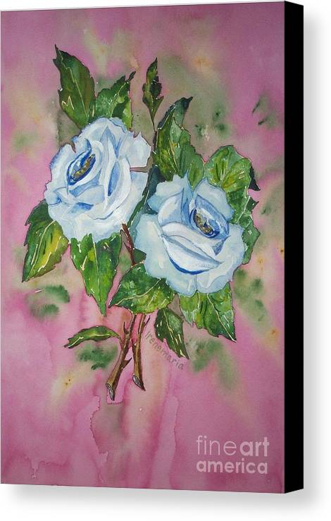 Irenemaria Roses Aquarell Painting Canvas Print featuring the painting Blue Blue Roses by Irenemaria Amoroso