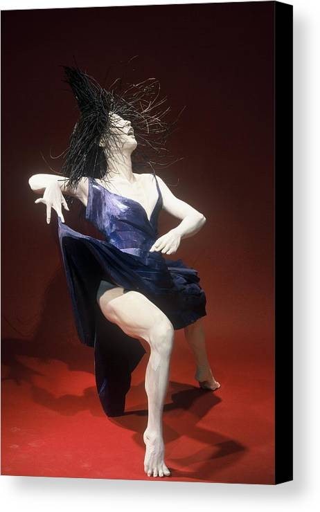 Dance Canvas Print featuring the sculpture Blue Dancer Right View by Gordon Becker