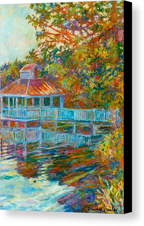 Mountain Lake Canvas Print featuring the painting Boathouse At Mountain Lake by Kendall Kessler