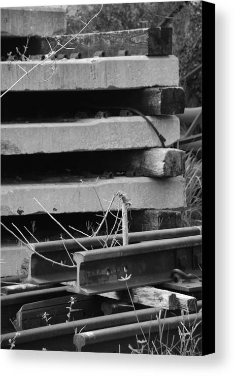 Black And White Canvas Print featuring the photograph Building Tracks by Rob Hans
