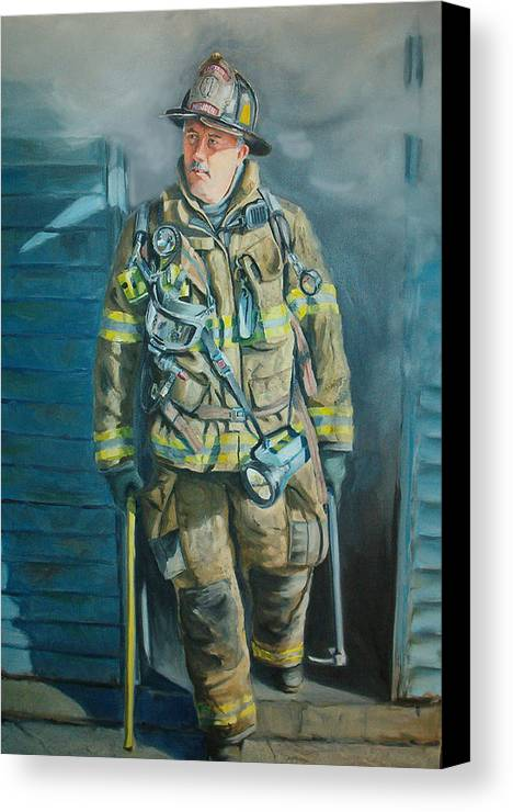 Firefighter Canvas Print featuring the painting Captain Harris by Paul Walsh