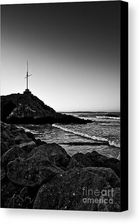 Landscape Canvas Print featuring the photograph Cave Rock Cross Black N White by Lee Malzard