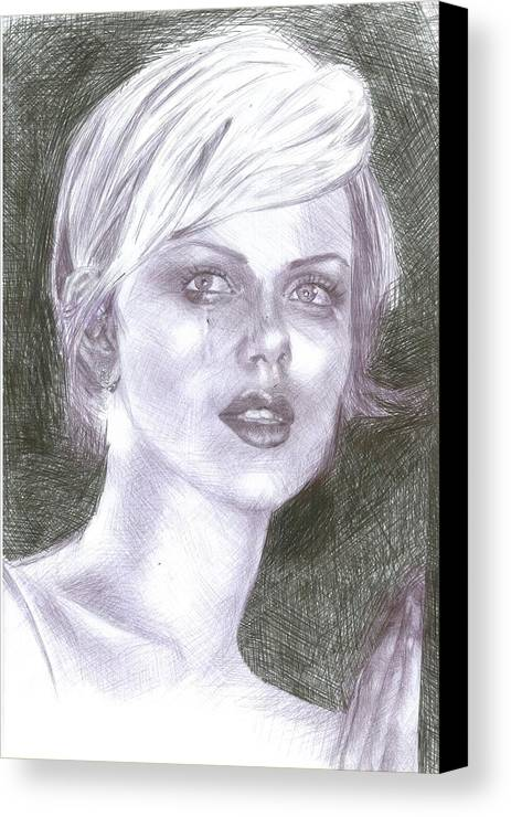 Charlize Theron Canvas Print featuring the drawing Charlize Theron by Reza Naqvi